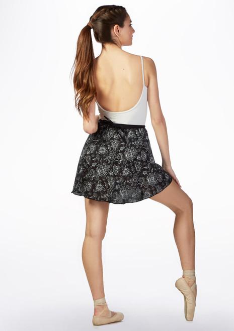 Basilica Short Patterned Wrap Skirt Black White back. [Black-White]