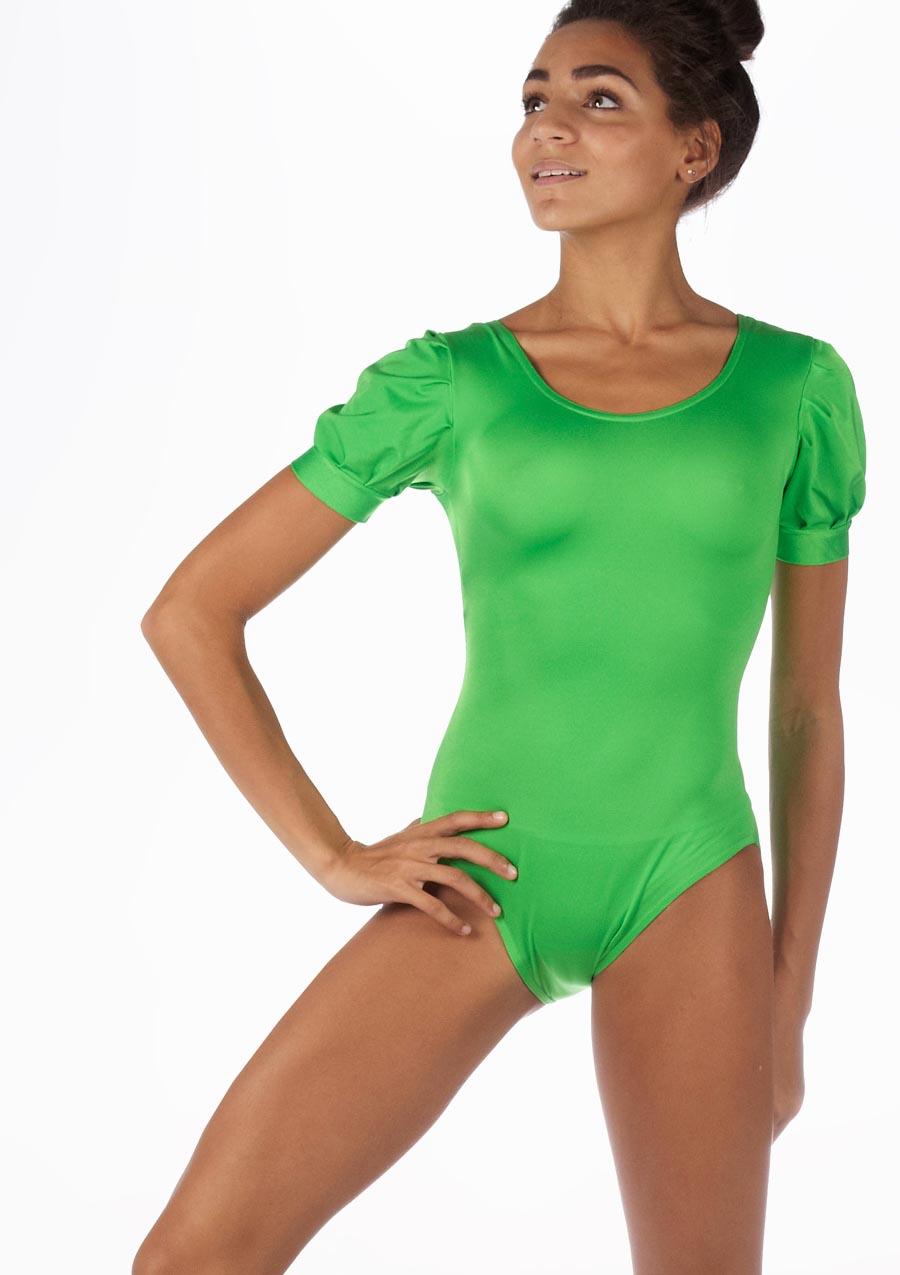 Alegra Shiny Rosalie Leotard Green front. [Green]