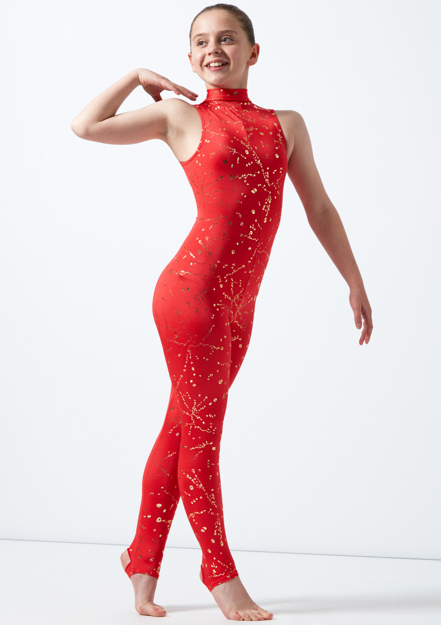 Alegra Girls Metallic Print Rhona Unitard Red front. [Red]