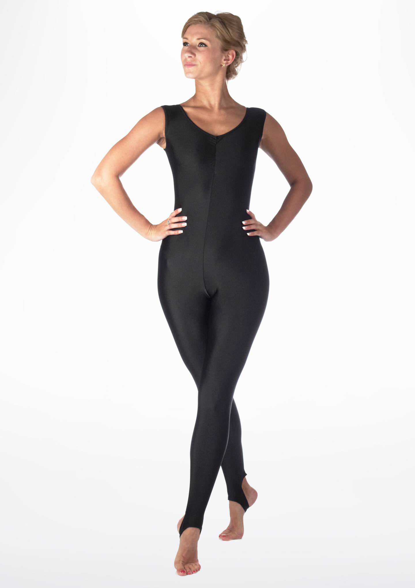 Alegra Girls Shiny Deanna Catsuit Black front. [Black]