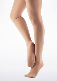 Capezio Footed Ballet Tights Light Suntan Brown front. [Brown]