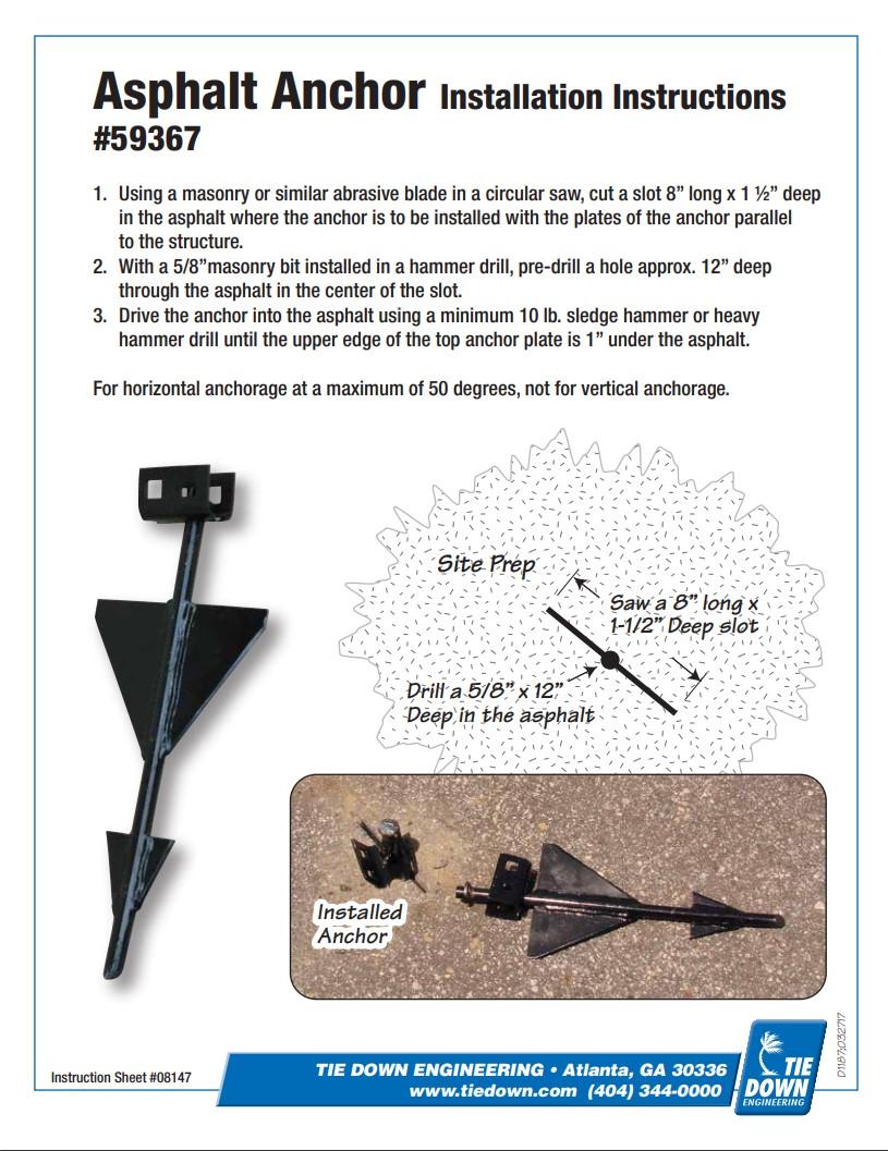 Tie Down Engineering - Asphalt Anchor - Installation Instructions