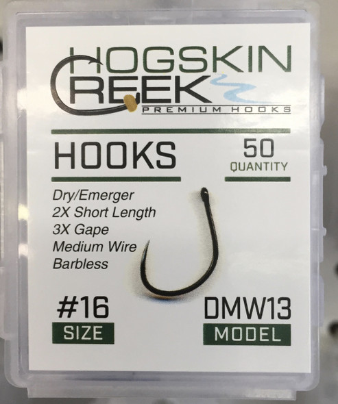 A Dry Medium Wire hook for dries and wets.  50 Count Box-2x Short-Barbless-Black Nickel-Medium Wire-3X wide Gape.  Same hook as the Firehole 413