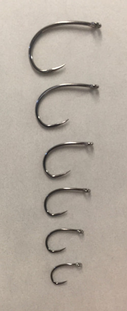 HSC-CMW36  Barbless Hook, Nymph/Scud/Emerger/Egg  Black Nickel, Medium Wire