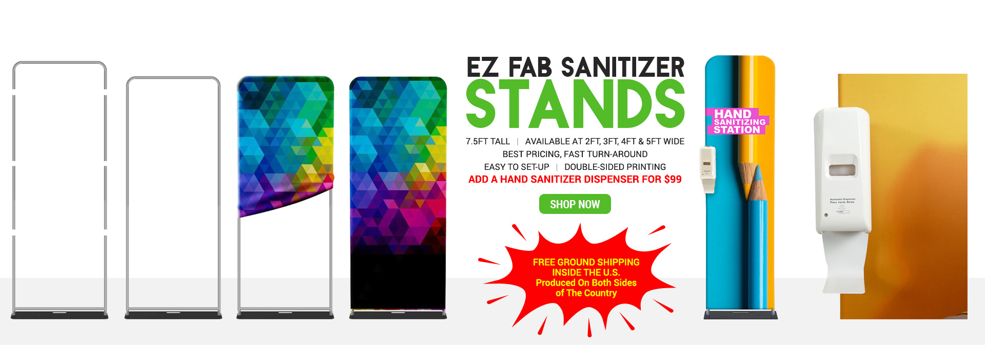 ez fab hand sanitizer tension fabric banner stands