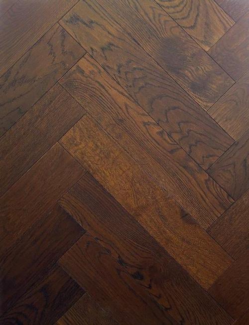 600mm x 120mm Herringbone Oak Monet Brushed & Matt Lacquer