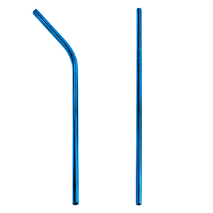 H2W Metal Re-Usable Straw (Blue/Small/Child)