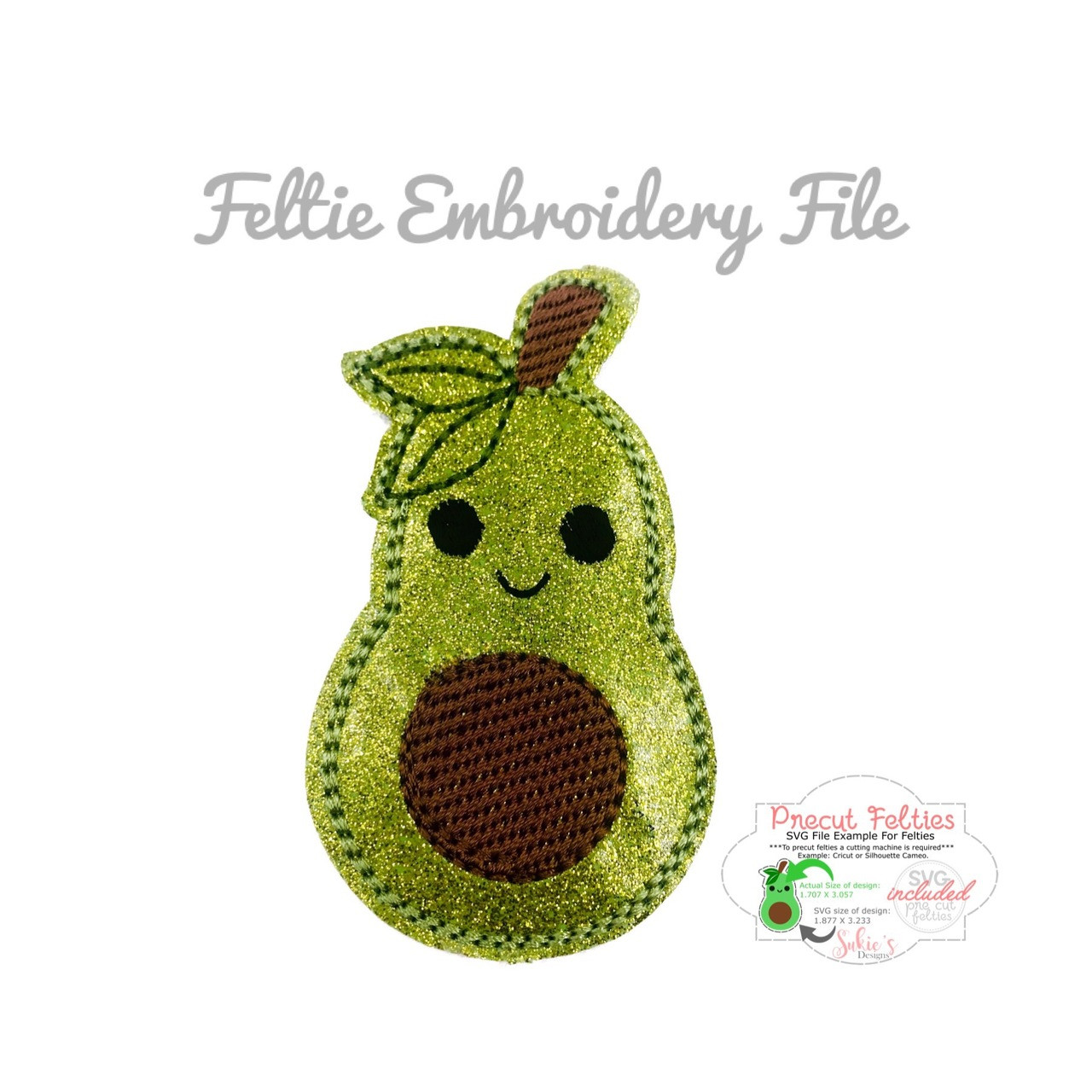 Avocado Feltie Machine Embroidery Design