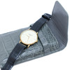 Alligator Crocodile Handmade Gray Travel Pouch Case For Watches And Jewelry