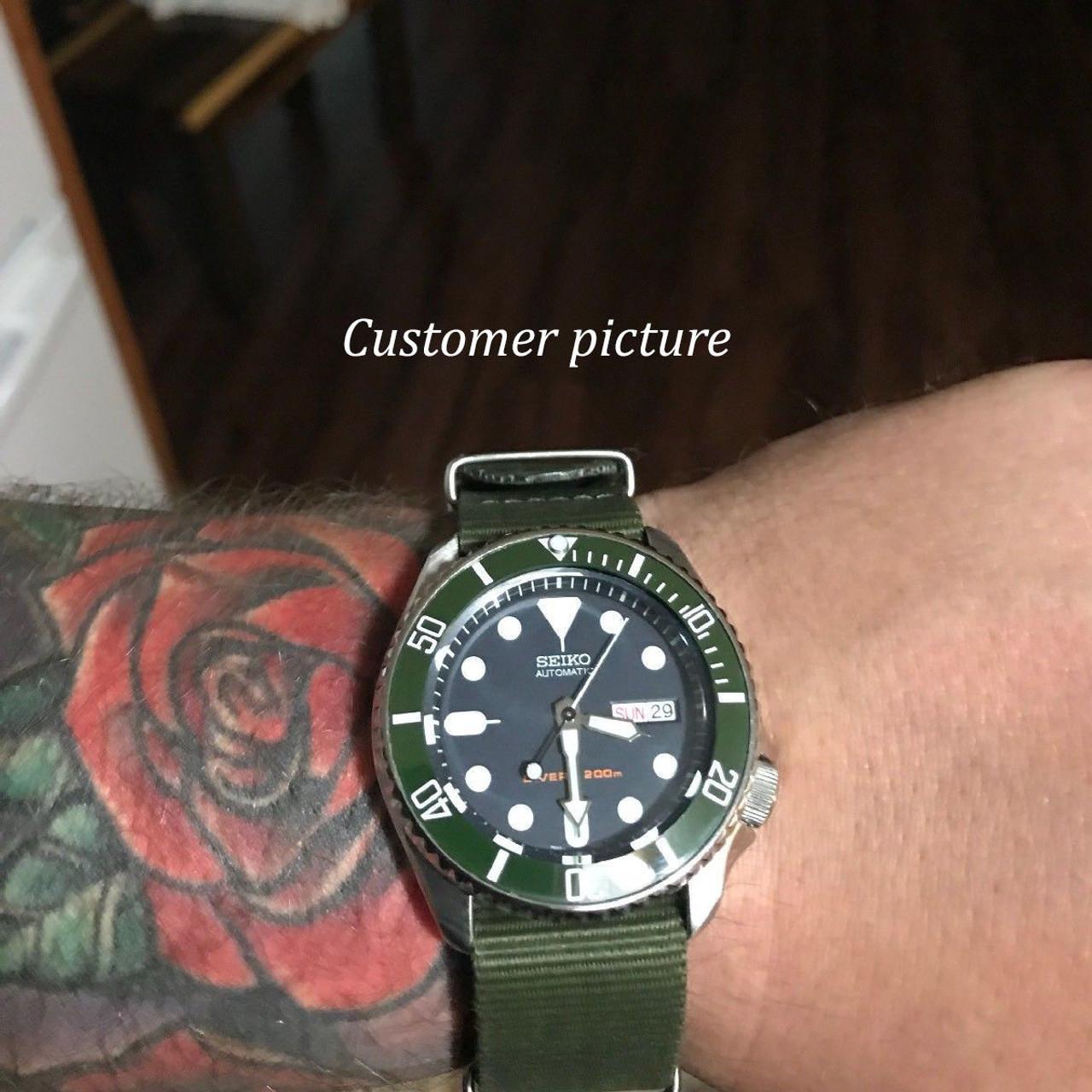 Green White Ceramic Bezel Insert for Seiko SKX007 Watches MOD