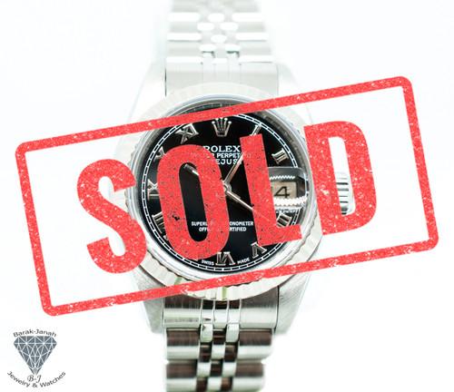 Rolex Lady Datejust 26mm Watch Ref 69174 Black Roman Dial 18k Bezel Caliber 2135