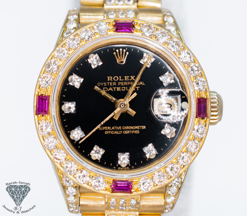 Rolex Datejust 6917 18k Gold iced out with President Band Diamonds + Papers