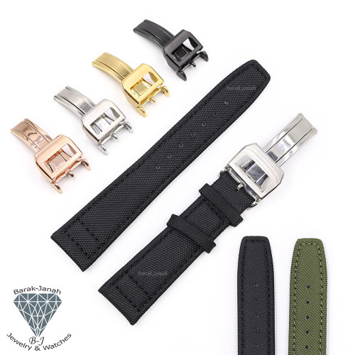 Canvas Straps For IWC Pilot Watch with Deployment Clasp Buckle +Tool
