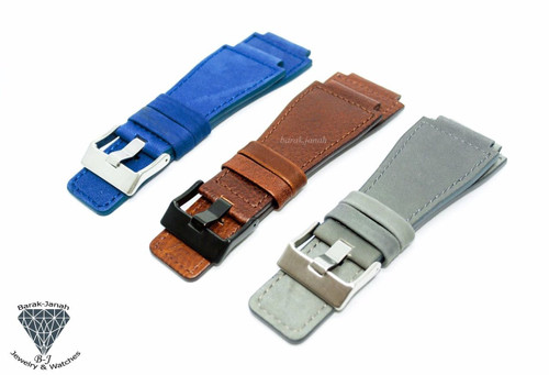 24mm Leather Strap For Bell & Ross Watches with Buckle + Tools