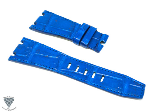 28mm Blue Real Alligator Crocodile Handmade Straps For Audemars Piguet