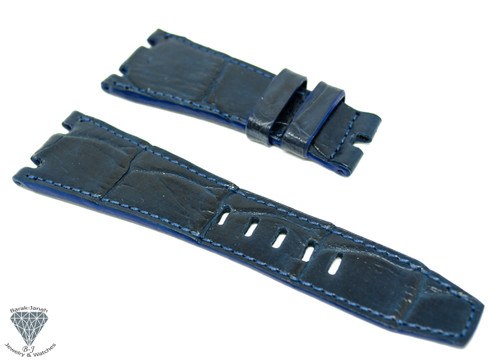28mm Dark Blue Real Alligator Crocodile Handmade Straps For Audemars Piguet