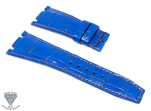 28mm Blue Orange Real Alligator Crocodile Handmade Straps For Audemars Piguet