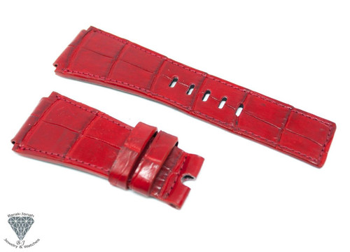 24mm Red Alligator Crocodile Handmade Straps For Bell & Ross Watches