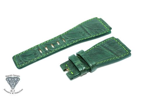 24mm Green Alligator Crocodile Handmade Straps For Bell & Ross