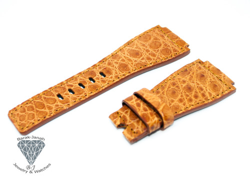 24mm Tan Brown Alligator Crocodile Handmade Straps For Bell & Ross