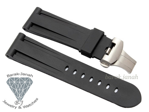 24mm Black Rubber Band For Panerai With Deployment Clasp + Tools