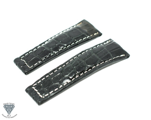 20mm Black Real Alligator Crocodile Handmade Straps For Rolex Daytona