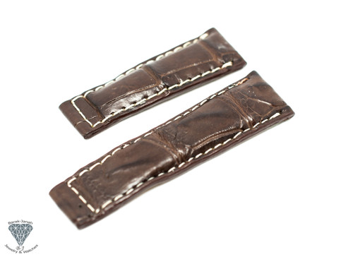 20mm Brown white Alligator Crocodile Handmade Straps For Rolex Daytona