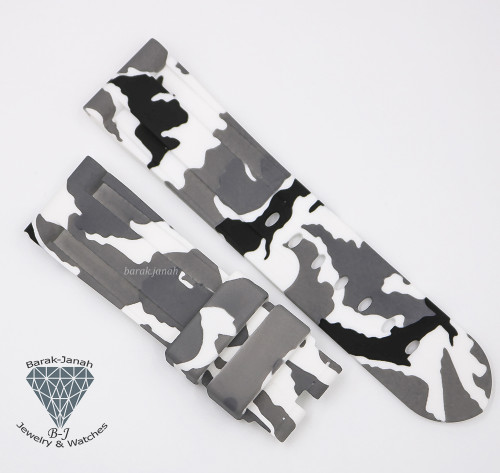 24mm Military Camo White Rubber Band For Panerai PAM + Tools