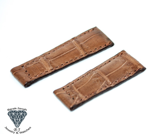20mm Tan Real Alligator Crocodile Handmade Straps For Rolex Daytona Watches