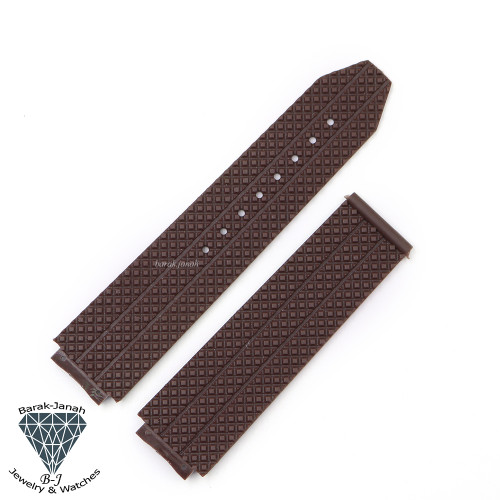 24mm Brown Rubber Band For Hublot Big Bang Watches 44mm 45mm + Tools