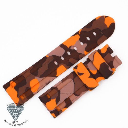 24mm Military Camo Orange Rubber Band For Panerai PAM + Tools