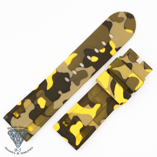 24mm Military Camo Yellow Rubber Band For Panerai PAM watches + Tools