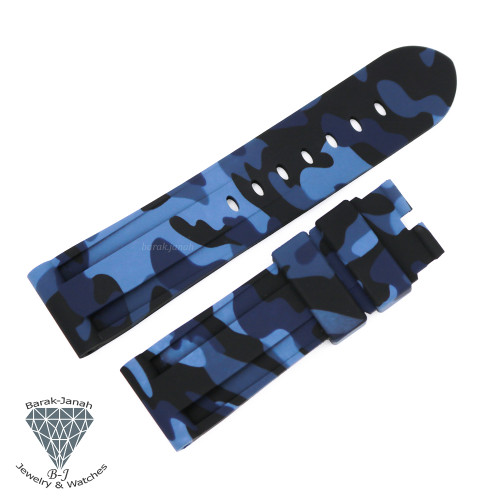 24mm Military Camo Blue Black Rubber Band For Panerai PAM watches + Tools