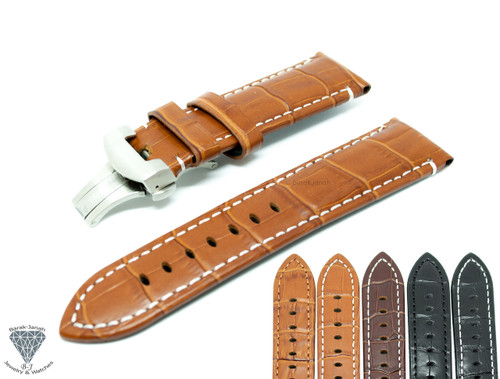 Leather Straps For Panerai PAM Watches with Deployment Clasp + Tools