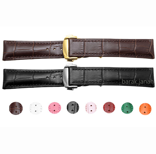18mm Genuine Leather Straps For Omega Watches With Deployment Clasp + Tools