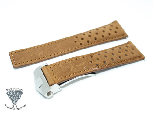 22mm Leather Brown Tan Straps For TAG Heuer Monaco With Deployment Clasp + Tools