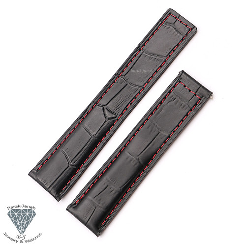 Leather Croco Black Red Straps For TAG Heuer Carrera Calibre Watches + Tools