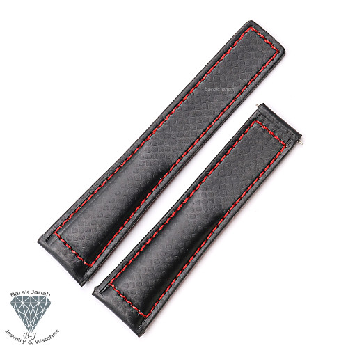 Carbon Leather Black Red Straps For TAG Heuer Carrera Day Date Watches + Tools