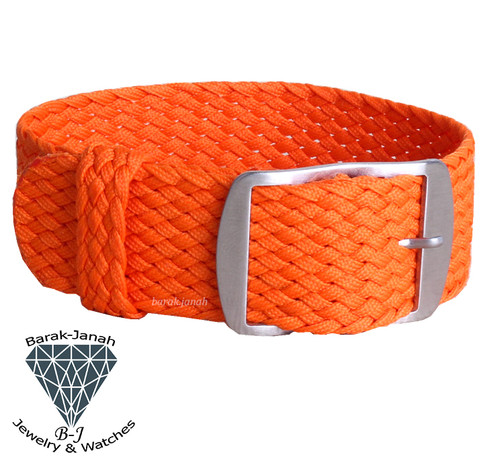 20mm Orange Vintage Nato Perlon Braided Straps + Tool