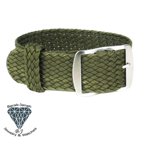20mm Green Vintage Nato Perlon Braided Straps + Tools