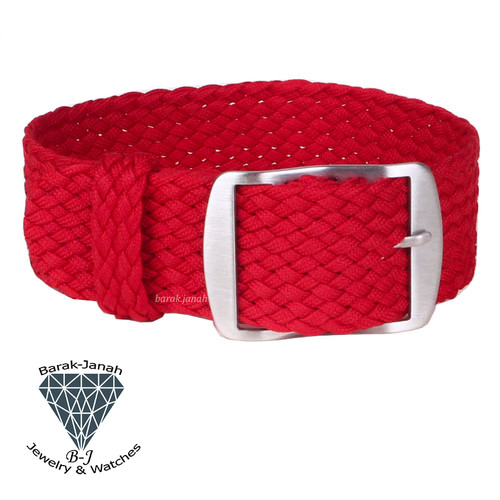 20mm Red Vintage Nato Perlon Braided Straps + Tools