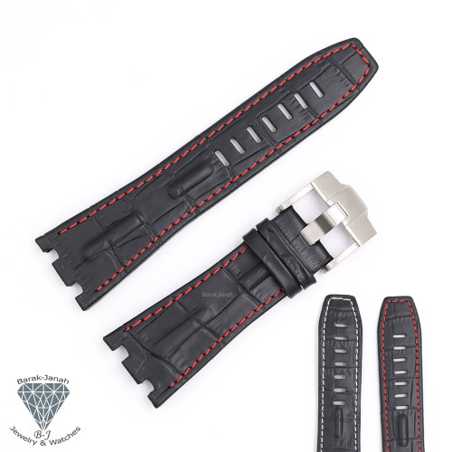 28mm Black Leather Straps For AP Audemars Piguet Watches with Buckle + Tools