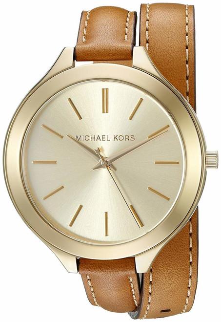 Michael Kors Runway Champagne Dial Tan Leather MK2256 Women's Watch
