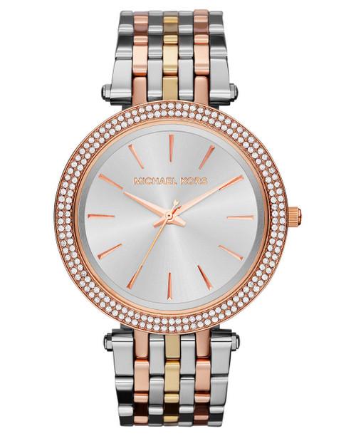 Michael Kors Silver Dial Tri-tone Crystals MK3203 Women's Watch