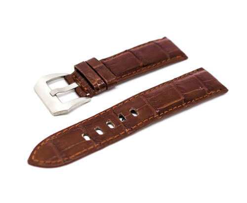 24mm Brown Real Alligator Crocodile Handmade Straps For Panerai Watches with Buckle + Silver Buckle