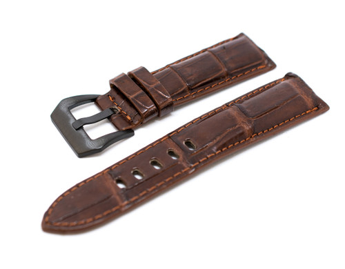 24mm Wine Brown Real Alligator Crocodile Handmade Straps For Panerai Watches with Buckle + PVD Buckle