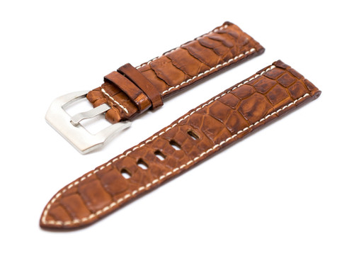 24mm Tan Real Alligator Crocodile Handmade Straps For Panerai Watches with Buckle + Silver Buckle