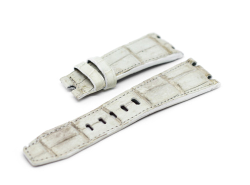 28mm White Real Alligator Crocodile Handmade Straps For Audemars Piguet