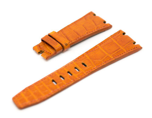 28mm Tan Real Alligator Crocodile Handmade Straps For Audemars Piguet