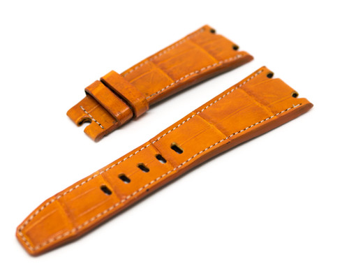28mm Tan with White Stitch Real Alligator Crocodile Handmade Straps For Audemars Piguet